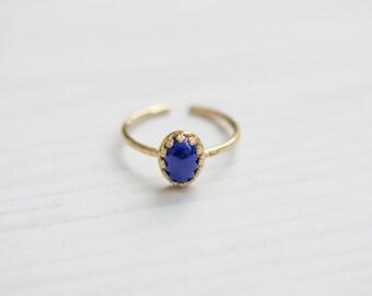 Lapis Lazuli Brass Stacking Ring, Hammered