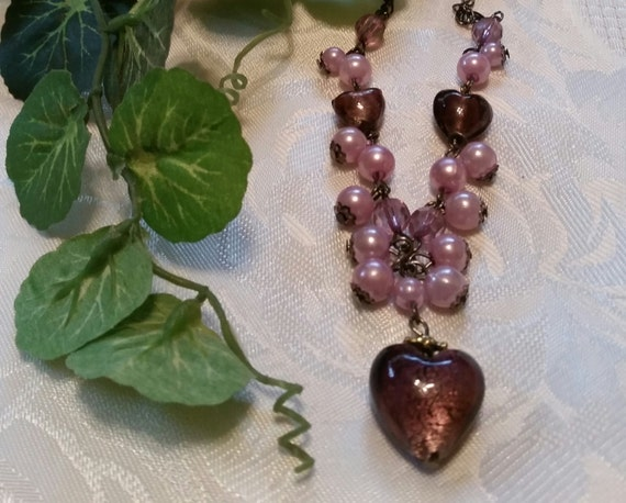 Purple Beaded Heart  Necklace