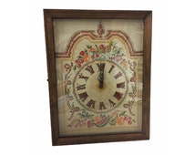Vintage Clock, Case Wall Clock, Cross Stitched Face, Glass Door, Very Old, Breathtaking Electric Clock, Vintage