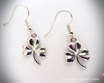 Shamrock Earrings, Silver Shamrock, Lucky Shamrock, Irish Shamrock