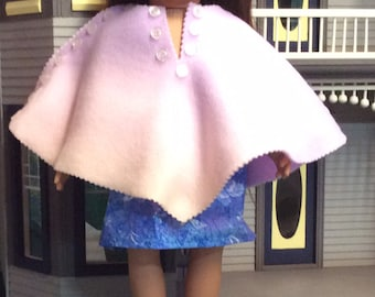Doll poncho and skirt pink