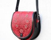 tooled red black leather bag - shoulder bag - crossbody bag - handbag - ethnic bag - messenger bag - for women - red poppies