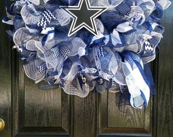 Large Mesh Ribbon Dallas Cowboys Star NFL Pro Football Wreath Blue White Silver