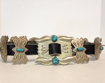 Vintage Navajo Nickle Silver Conch Belt