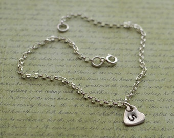 Sterling silver bracelet personalised heart chain bracelet sterling silver 925 charm choose your letter
