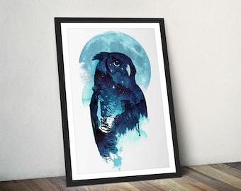 Owl Art Print Owl Wall Art Night Owl Watercolour Gift For Her Owl Illustration Midnight Owl Full Moon Wall Decor Giclee Owl Print by Farkas
