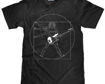 Funny Guitar T Shirt - Davinci Vitruvian Guitar Player Unisex Cotton Tshirt - Item 1272