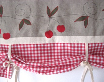 Rustic Linen Farmhouse Tie Up Valance Red Cherry Kitchen Curtain Window Treatment Country Chic Cottage Kitchen Kids Room Red Gingham Decor