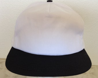 Vintage Baseball Cap - plain white with black visor - excellent condition