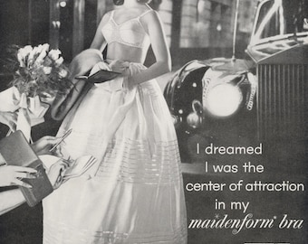 1963 Maidenform Bra Ad Girl Black & White Photo Young Woman Signing Autographs Women's Lingerie Vintage Fashion Advertising Wall Art Decor