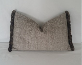 "20"" x 13"" Pewter and Silver Textured Chenille with Fringe Lumbar Pillow Cover"