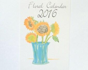 2016 Illustrated Floral 12 Month Wall or Desktop Calendar