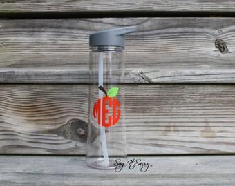 Personalized Water Bottle Sports Bottle 24 ounce Apple Monogram Waterbottle Teacher Water Bottle