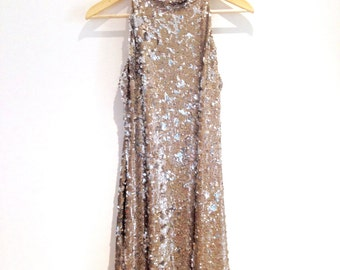 Vintage gold sequin halter dress - size small