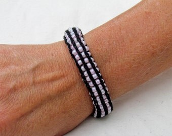Handmade French Knit Beaded Bracelet - Pink and Black