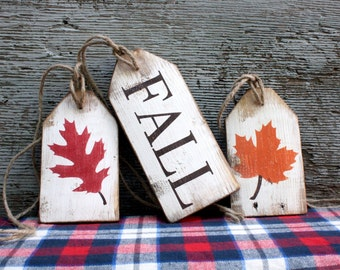 Fall Harvest Autumn Wood Tags Rustic Distressed Thanksgiving Sign Set