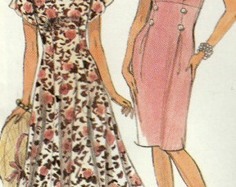 Misses Dress with Slim or Full Skirt, Short Sleeves, Easy Simplicity 7258 Sewing Pattern, Multi-Size 4, 6, 8, 10, Uncut Vintage