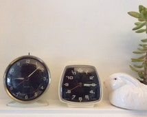 Two Retro Westclox Windup Alarm Clocks 1960s