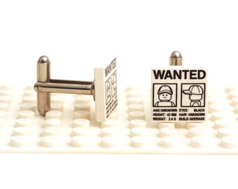 WANTED escaped figure cufflinks. Cufflinks made with LEGO(R) bricks. Classic wanted poster Cuff links Cufflink