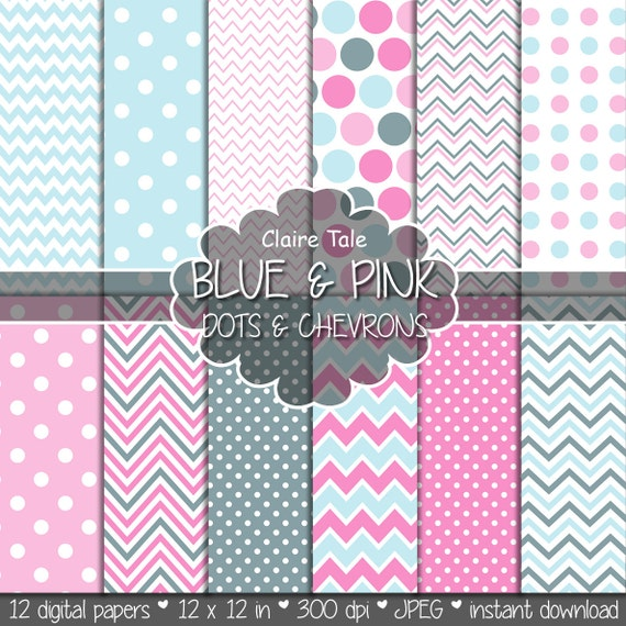 "Baby digital paper: ""BLUE & PINK polka dots and chevrons"" with polka dots and chevrons patterns in baby pink and blue shades"