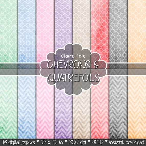"Watercolor digital paper: ""WATERCOLOR CHEVRON & QUATREFOIL"" paper pack with chevrons and quatrefoils on pastel watercolor backgrounds"