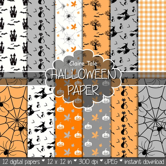 Halloween digital paper: HALLOWEEN PAPER with pumpkins, spiders, bats, witches / Halloween background / Halloween patterns in orange, grey