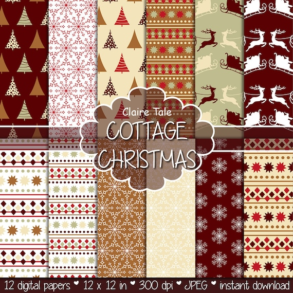 "Christmas digital paper: ""COTTAGE CHRISTMAS"" christmas backgrounds with deers, santa, snowflakes, christmas trees"
