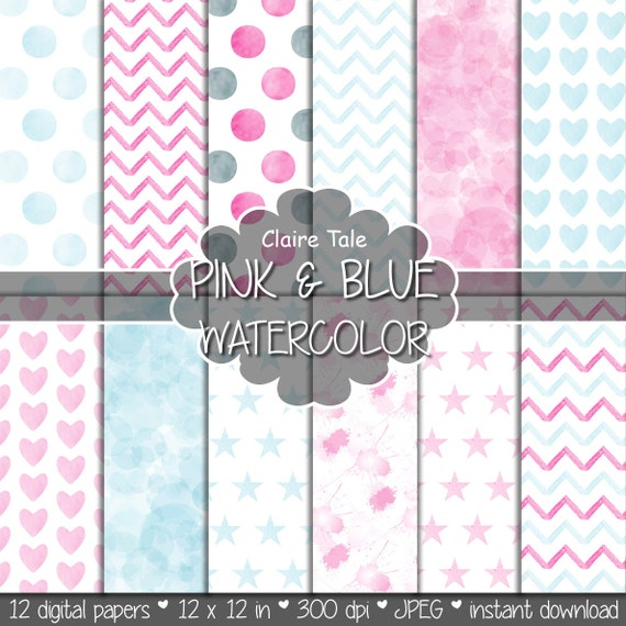 "Watercolor digital paper: ""PINK & BLUE WATERCOLOR"" with watercolor/watercolour polka dots, stars, hearts, splash, chevron in pink and blue"