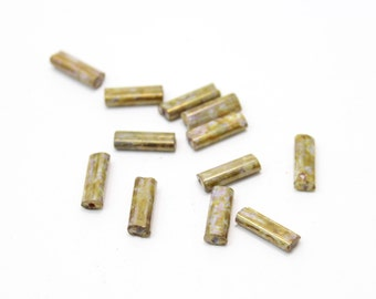 Czech Glass Bugle Beads in Shades of Green and Brown 5x13mm  12pcs