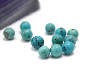 Turquoise Round Smooth Ball Beads Genuine Turquoise 7mm 12pcs