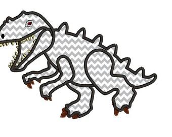 Dinosaur applique design. T Rex applique. Tyrannosaurus rex machine embroidery applique design.