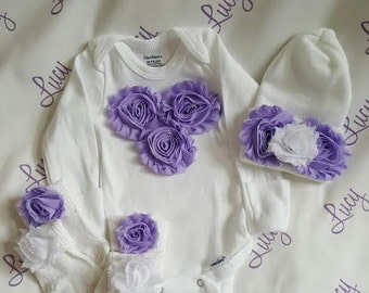 """Newborn Girl Shabby """"take me home outfit"""". Matching Round top Hospital hat, Long sleeve romper and socks.  Newborn Girl Gift Set."""