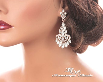 ROSE GOLD crystal earrings bridal earrings Art Deco wedding earrings marquise stone earrings chandelier earrings vintage style 1261RC