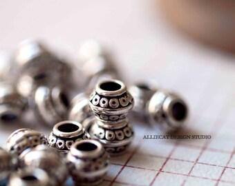 5 Silver Plate 9x7x9mm Bali Beads (F0148)