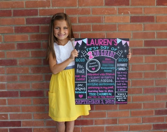 First Day of 2nd Grade Chalkboard Poster Sign First Day of School Girl First Day of 1st, 2nd, 3rd, 4th, 5th, 6th, etc