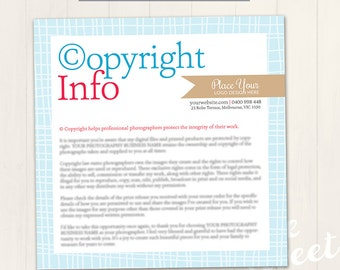 Copyright Information Card - Photoshop Template for photographers (CR01) - INSTANT DOWNLOAD