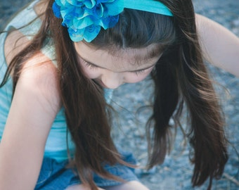 Turquoise Teal Floral Chiffon Lace Flower Headband - Gift or Photo Prop - Newborn Baby Infant Toddler Girl Adult Birthday Party Favor