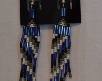 Black, Grey, White, and Lavender Native American Style Beaded Earrings