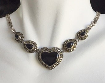 Vintage Art Nouveau Sterling Silver and Onyx Marcasite Hearts Necklace - Ultimate Romantic Hearts Necklace