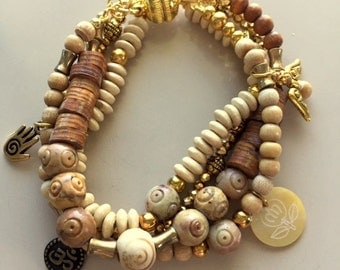 Natural Wood and Carved Tan and Brown Jasper Multistrand Bracelet