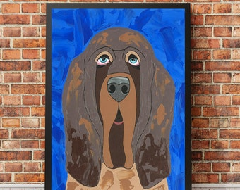 Whimsical Blue Dog Art Print - Bloodhound - Christmas Gift For Dad, Brother, Husband - Man Cave Decor