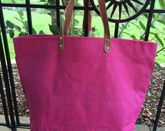 NEW!!  FUSCHIA Jute ZipperTote, Reuseable Grocery Bag, Beach Bag, Carry-All, Monogrammed Tote and More!