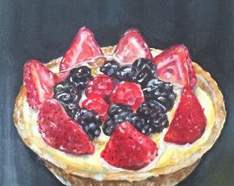 Fruit tart painting (print) 8x10