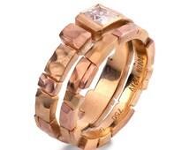 Brick Engagement Set - Unique Engagement Set, tricolor engagement rings, princess cut diamond ring, square diamond ring, wedding set, Bridal