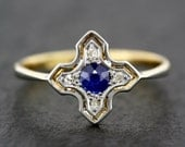 Art Deco Sapphire Ring - Antique Sapphire & Diamond Art Deco Ring in 18ct Gold and Platinum