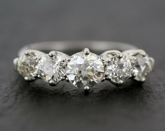 Antique Diamond Ring - Edwardian Five-stone Antique Diamond Anniversary Ring Platinum