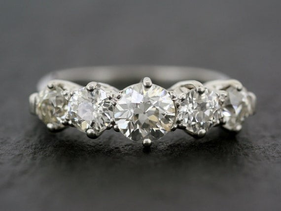 Antique Diamond Ring Edwardian Five Stone Antique Diamond