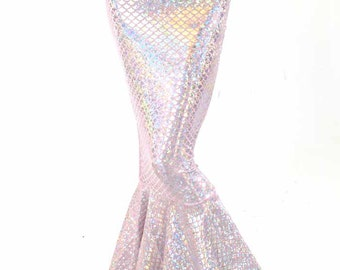 High Waist Pink & Silver Shimmering Hologram Scale Metallic Mermaid Tail Skirt 151394