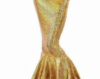 High Waist GOLD Shimmering Holographic Fish Scale Metallic Mermaid Tail Skirt Sirena 151417