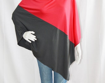 Color block Two Tone Poncho/ Lightweight Nursing Cover/ Red and Charcoal Nursing Shawl/ Breastfeeding Cover/ One shoulder Top/ New Mom Gift